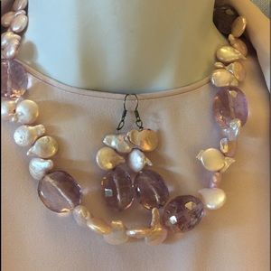 Pearl and glass necklace and earrings